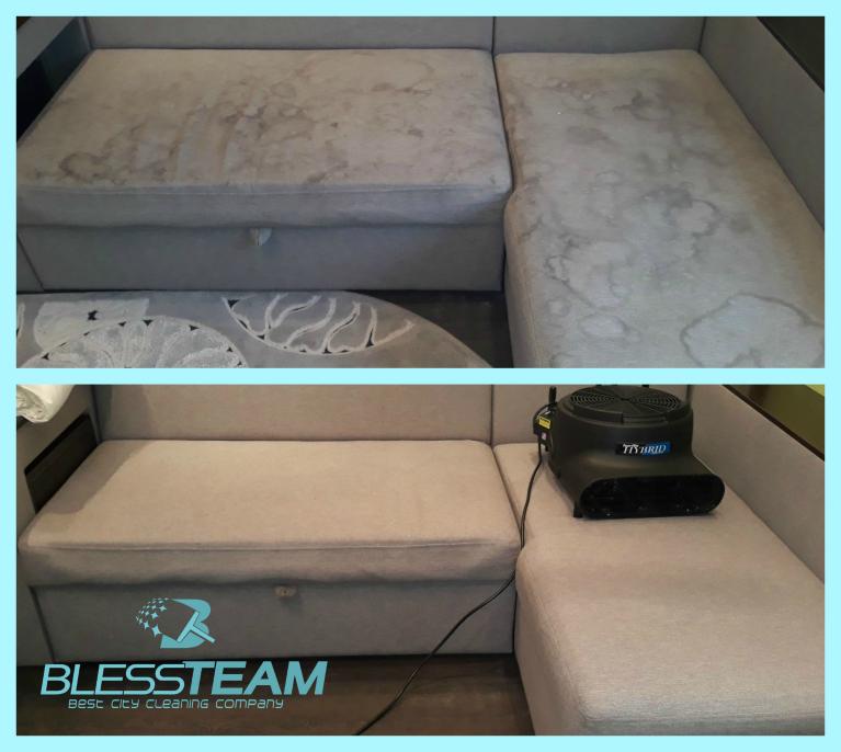 Химчистка углового дивана + спальная часть